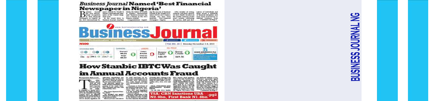 Business Journal Named 'Best Financial Newspaper in Nigeria'