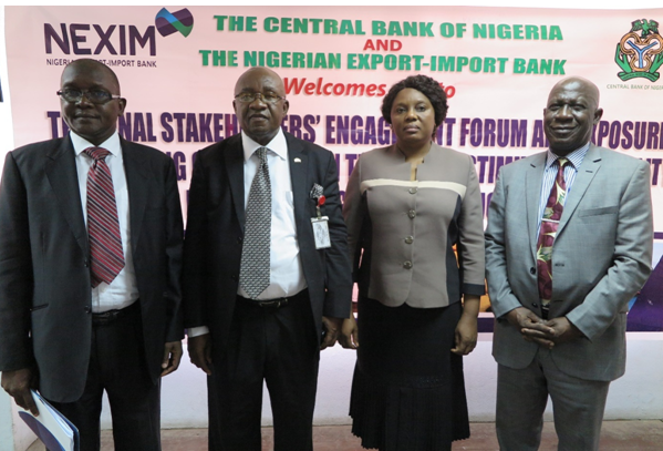 L – R: Mr Bashir M. Wali, Acting MD/CEO, NEXIM Bank; Mr. George Enyiekpon, Director, Export Development and Incentives, NEPC; Mrs Udoo Fateh, CBN; Mr. Musi A. Braimoh, MAN Export Group.