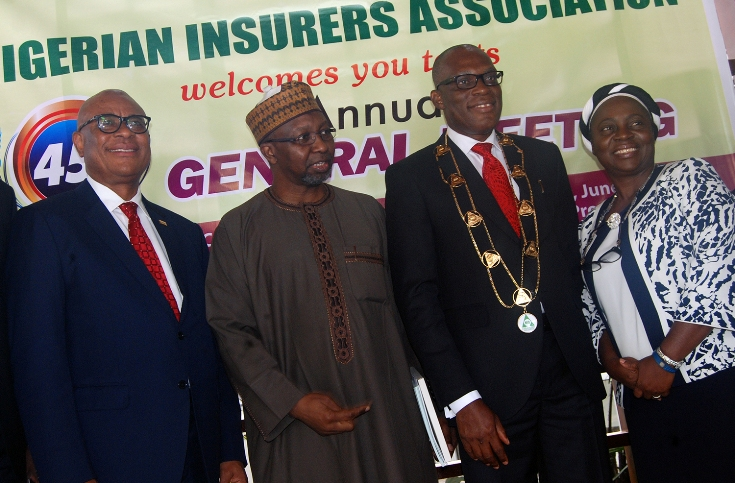 L-R: Immediate past chairman, Nigerian Insurance Association (NIA), Godwin Wiggle; Commissioner for Insurance, Mr Mohammed Kari; Managing Director, Consolidated Hallmark Insurance Plc, Mr Eddie Efekoha, and new Deputy Chairman, NIA, Mrs Yetunde Ilori, at the investiture of Mr. Efekoha as the new NIA Chairman during the 45th Annual General Meeting of NIA held in Lagos on Thursday 30:6:2016 (yesterday).