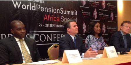 L-R: Chairman of Pension Fund Operators Association of Nigeria(PenOp), Mr. Longe Eguarekhide; Chief Executive Officer, World Pension Summit(WPS), Chris Battaglia; Director-General, National Pension Commission (PenCom), Chinelo Anohu-Amazu and Founder, WPS, Eric Eggink at the 2016 World Pension Summit 'Africa Special' press conference held yesterday in Lagos.