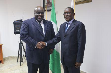 L – R: Mr. Kofi Adumaku, Regional Head of Project Finance, Afreximbank; and Mr. Bashir M. Wali, Acting MD/CEO, NEXIM Bank