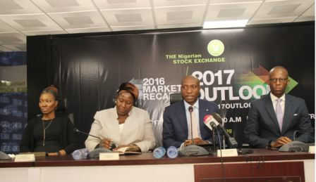 L – R shows Pai Gamde, Acting Head, Corporate Services Division, The Nigerian Stock Exchange (NSE); Tinuade Awe, General Counsel & Head, Regulation, NSE; Oscar N. Onyema, Chief Executive Officer, NSE; and Adeolu Bajomo, Executive Director, Market Operations & Technology, NSE at the 2016 Market Recap & 2017 Outlook