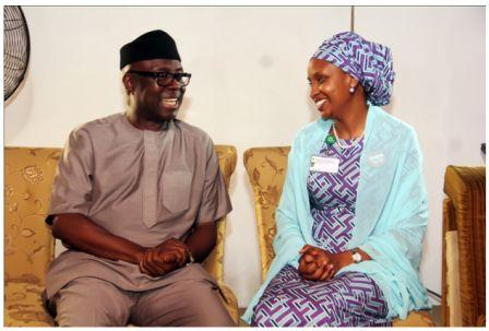 R-L: Managing Director of Nigerian Ports Authority, Hadiza Bala Usman condoling Otunba Niyi Adebayo (former Governor of Ekiti State) during a recent condolence visit over the demise of late General Adeyinka Adebayo at his residence in Ikeja, Lagos.