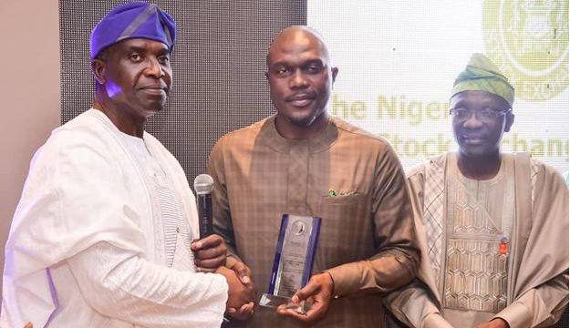 L – R shows Dr. Jide Akeredolu, District Governor Elect, Rotary District 9110, Nigeria; Mr. Olumide Orojimi, Head Corporate Communications, The Nigerian Stock Exchange (NSE) and Kolapo Sodipo, District Governor, Rotary District 9110, Nigeria during the award was presentation to the NSE at the 2019 edition of the Rotary Friendship Night/Governor's Magazine Launch/Awards yesterday in Lagos.