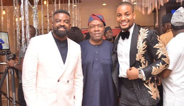 "(L-R): Kunle Afolayan, Ace Film Producer; Patrick Akinwuntan Managing Director, Ecobank Nigeria; and Alex Ekubo, Cast 'Bling Lagosians' at the premiere of the movie ""Bling Lagosians' in Lagos."