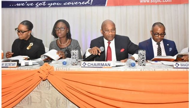 Ugochi Odemelam, Executive Director, Sovereign Trust Insurance Plc, Yetunde Martins, Company Secretary, (Citipoint Chambers), Oluseun Ajayi, Chairman, Board of Directors, Sovereign Trust Insurance Plc and Olaotan Soyinka, MD/CEO, Sovereign Trust Insurance Plc at the 24th Annual General Meeting of the company in Lagos.