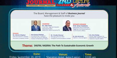 Invitation to Business Journal 2nd Annual Lecture/Awards 2019