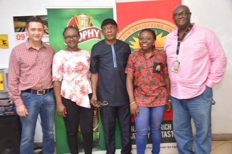 L-R: Brewery Operations Director, International Breweries Plc (IB Plc), Mr Johan Gouws; Country People Manager, IB Plc, Mrs Chinelo Obienyem; Nollywood actor and Brand Ambassador, Hero beer, Nkem Owoh; Marketing Director, IB Plc, Mrs Tolulope Adedeji; and Manager, Corporate Affairs and Sustainability, IB Plc, Mr Chuma Umuma, at an event at the Onitsha Brewery of IB Plc to celebrate Monde Selection awards won by IB Plc's Trophy and Hero lagers, recently.
