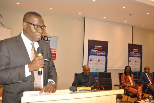 Dr. Henry Nkemadu, Director, Public Affairs, Nigerian Communications Commission (NCC) delivering the keynote address at the Business Journal 2nd Annual Lecture/Awards last Friday in Lagos. He represented Prof Umar Danbatta, the EVC/CEO of NCC.